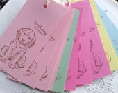 SALE Puppy Dog Birthday Wishes Tags Set of 25