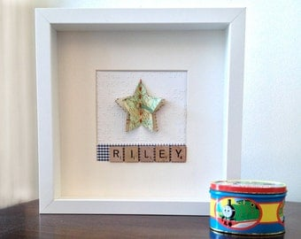 Personalised Name Art - Recycled Vintage Book, Map and Music Pages