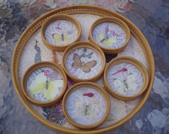 Vintage Pressed Butterfly Bamboo Tray and Coaster Set