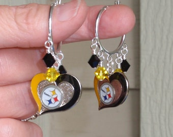 Pittsburgh Steelers Earrings, Steelers Bling,  Black and Gold Pro Football Earrings, Football Steelers Jewelry Accessory Fanwear