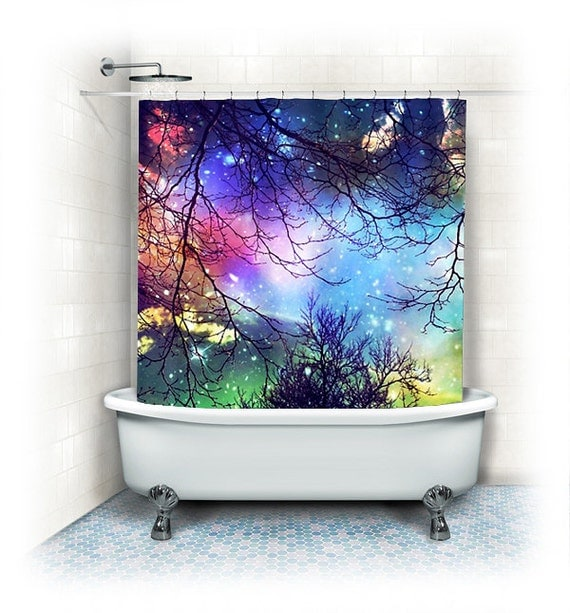 "Fabric Shower Curtain ""Look to the stars"" clouds, stars,sky, night, trees,aqua,turquoise,blue, teal, bathroom, home decor,nature"