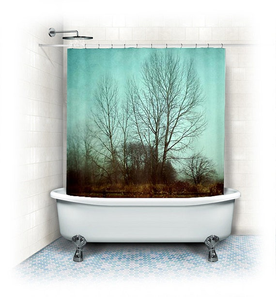 items similar to trees shower curtain quiet time woods forest trees nature home decor winter. Black Bedroom Furniture Sets. Home Design Ideas
