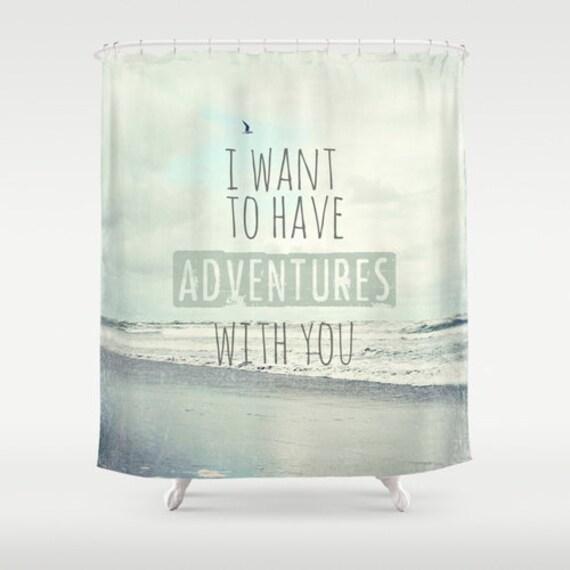 Items Similar To Ocean Shower Curtain Beach Typography Quote Aqua Home Decor Original