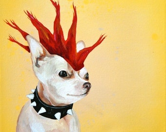 Spring Clearance Rebel Chihuahua spike collar print of original painting