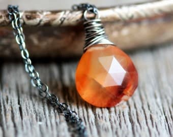 Amber Orange Necklace Striped Chalcedony Wire Wrapped in Sterling Silver - Mesa - Southwestern Boho Summer Fashion
