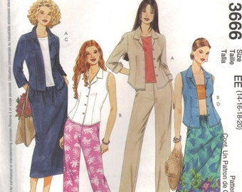 McCalls 3666 Sewing Pattern Shirt Capri Pants and Skirt Misses Miss Petite Size 14 16 18 20