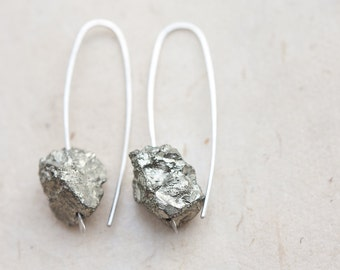 Rough Pyrite Modern Earrings Argentuim Sterling Silver gray raw Handmade Urban Minimalist Jewelry minimal chic