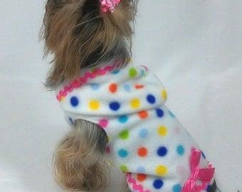 Bubblegum Dots Hoodie Dog Dress Size XXXS through Medium by Doogie Couture