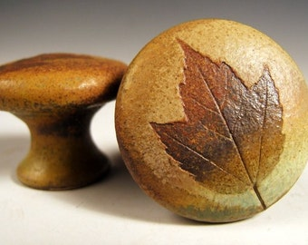 "Knobs Rustic Ceramic Cabinet Knob Drawer Pull in ""Change of Seasons"" Glaze Woodland Cabin Nature themed"