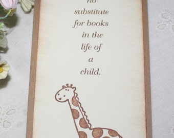 Giraffe Bookmark - Set of 10 - Baby Shower Favor - Birthday Favor - Neutral - You Choose Ribbon