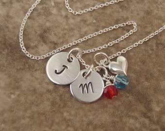 Dainty Initial and Tiny Heart Necklace - Couples Initials - Kids initials - Mom necklace - Sterling Silver Necklace - Photo NOT actual size