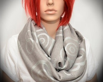 Beige Silver Gray scarf with circles - Infinity scarf