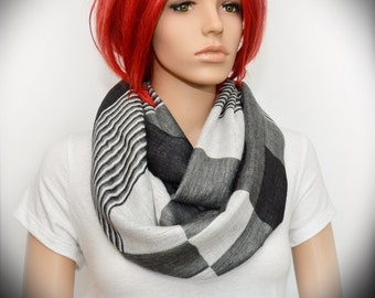Black White and Gray Infinity scarf