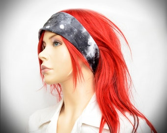 Black and white galaxy, stars, planets and space stretchy headband