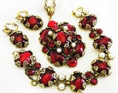 Hollycraft Ruby Red Glass Cabochon and White Pearl Set or Parure