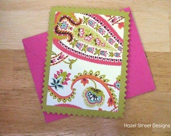 Chartreuse and Pink Paisley Flat Cards - Set of 6