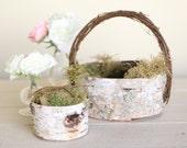 Rustic Flower Girl Basket and Ring Bearer Pillow SET Birch Moss Twigs Woodland Natural Wedding NEW 2014 Design by Morgann Hill Designs