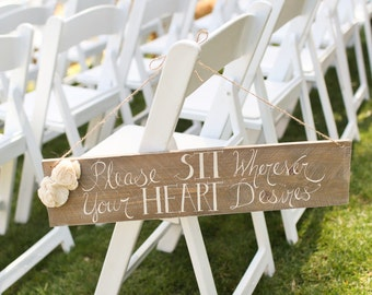Rustic Wedding Sign No Seating Plan Sit Wherever Your Heart Desires (Item number MMHDSR10025)