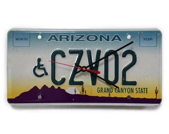 Arizona License Plate Wall Clock - AZ License Tag Clock - Grand Canyon State Decor - Ombre