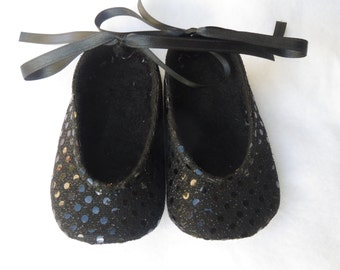 Sweet Brooklyn Black Sparkle Baby Shoes - Ballet Style With Silver Ankle Ties For Infants And Toddlers
