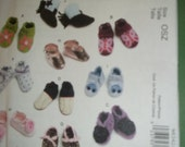 Baby shoes slippers sewing pattern soft shoes footwear boots one size McCalls craft M6342
