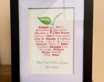 Teachers thank you gift personalised name typography word art class apple art print