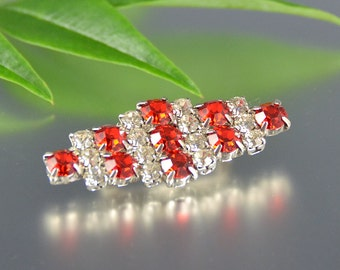 Deco Rhinestone Pin Silver Ruby Red White Bar Evening Valentine's Vintage - W2843