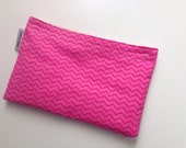 Snack Bag Sandwich Bag All Cotton Pink and Red Chevron