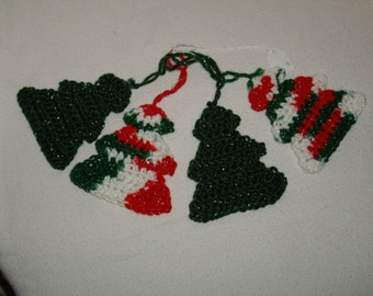 set of 4 Christmas tree ornaments