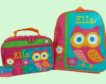 Child's Personalized Stephen Joseph GoGo TEAL OWL Themed Backpack and Lunchbox School Set-Monogramming Included In Price