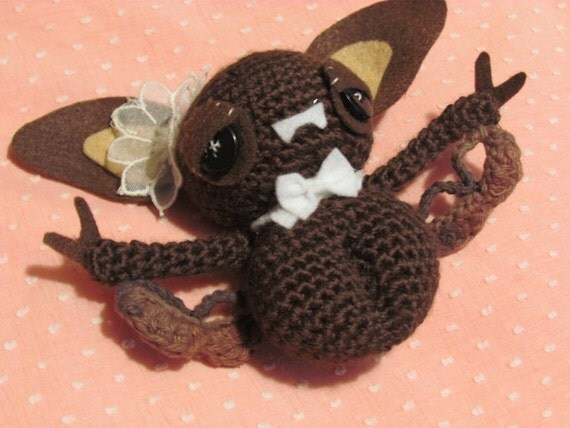 RESERVED for daddieslittleartist Beatrice the Fancy Amigurumi Bat - Lacy Wings - Halloween