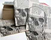 Skull Book Pages, Upcycled Book, Mixed Media Supplies