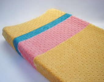 Saffron Yellow Changing Pad Cover with Stripes