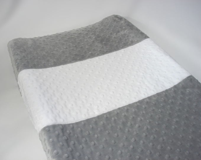 Silver Gray Changing Pad Cover with Stripe