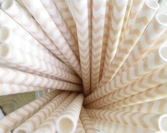 25 Vanilla Cream Beige Chevron Paper Straws Ivory
