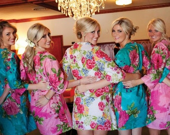 Bridesmaids Robes Sets Kimono Crossover Robe. Bridesmaids gifts. Getting ready robes. Bridal Party Robes. Floral Robes. Dressing Gowns