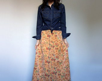 70s Long Skirt Orange Floral Print Aline Novelty Bird Print Hippie Boho Maxi Skirt - Small S