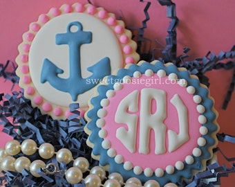 Navy & Pink Anchor and Circle Monogram Decorated Sugar Cookies