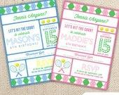 Tennis Themed Birthday Invitation (5x7) Digital Design