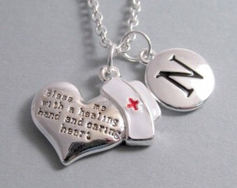 Nurse S Prayer Heart Bless Me Nurse Cap Necklace Nurse