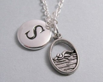 Swimmer  Swimmer Charm Swimming  Silver Plated Charm    Charm Supplies