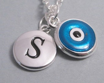 Blue Evil Eye Good Luck Silver Plated Charm jewelry supplies