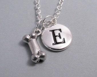 Dog Bone Necklace, Bone Charm, Bone Keychain, Silver Plated Charm, Engraved, Personalized, Monogram
