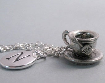 Cup of Tea Necklace, Tea Charm, Teacup Keychain, Silver Plated Charm, Engraved, Personalized, Monogram