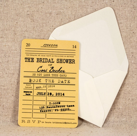 Library Card Bridal Shower Invitation - Vintage Literary Theme