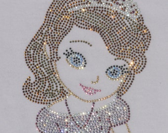 "6.4"" Princess Sofia (Sophia) the First (1st) iron on rhinestone TRANSFER applique patch for Disney shirt"