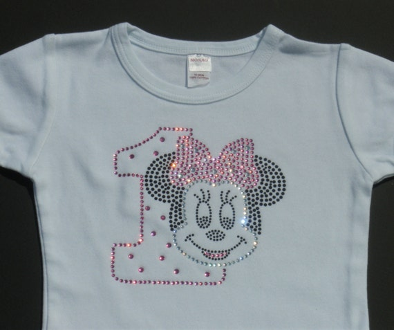 12 Or 18 Mo PINK Minnie Mouse 1st Birthday Rhinestone Short OR