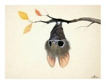 Little Bat, 8x10 print on felted paper