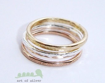 Wedding rings - Stackable rings - Ring set - Band set - Silver, Rose gold and gold - set of 3 rings