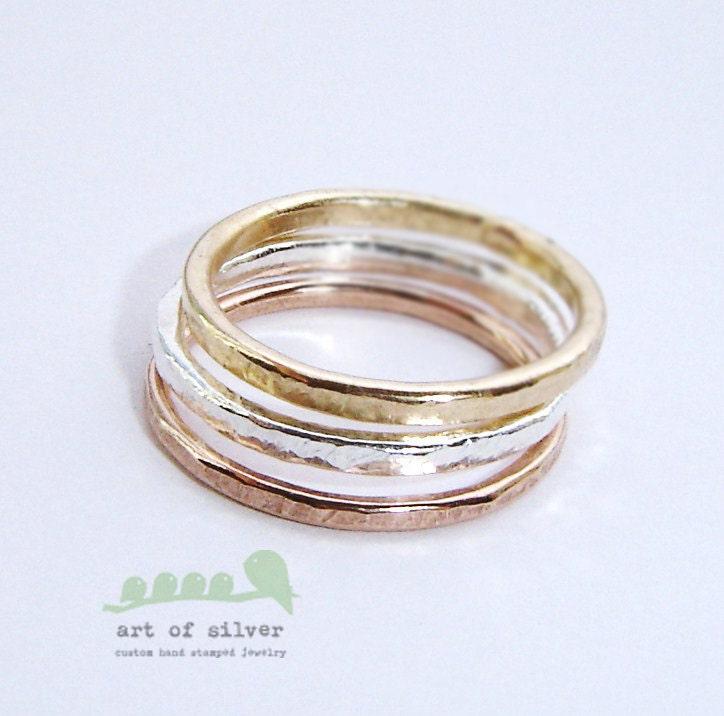 Wedding Rings Stackable Rings Ring Set Band Set
